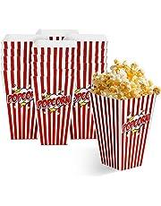 50 Wegwerp Popcorn Bakken, 7x4 inch - Duurzame Popcornbakken - Retro Popcorndozen voor Verjaardagen, Logeerpartijtjes, Filmavond, Kermis, Bioscoop, Uitdeelzakjes voor Snoepjes Feestjes.