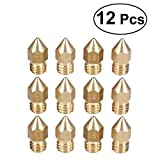 UEETEK 12Pcs 3D Printer Extruder Brass Nozzle Print Head(0.2mm+0.3mm+0.4mm+0.5mm)