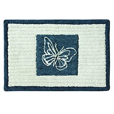 "Bacova Guild Indigo Wildflower Cotton, 20"" x 30"" Bath Rug - 100Percent Cotton Tufted rug provides comfort to your feet Machine washable cold, mild detergent, delicate cycle. Line dry or dry flat Matching indigo Wildflower bath Accessories also available - bathroom-linens, bathroom, bath-mats - 51u8NW9rccL. SS400  -"