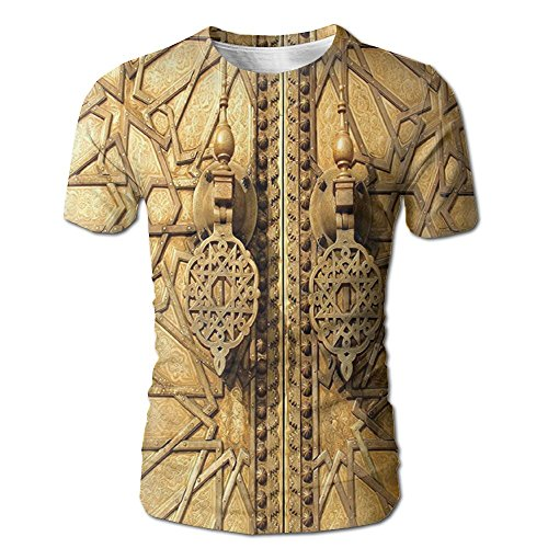 Kooiico Men's Moroccan Main Golden Gates Of Royal Palace In Marrakesh Morocco Travel Tourist Attraction Funny T-shirt White XL -