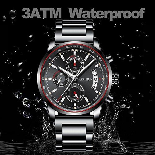 Mens Stainless Steel Watches Men Chronograph Waterproof Sport Date Quartz Wristwatch Classic Watch