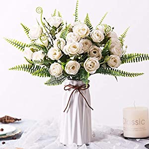 YILIYAJIA Artificial Silk Rose with Vase,30 Head Flowers Bulk Wedding Bouquets with Ceramic Vase Centerpieces for Decoration Table (Floral White)