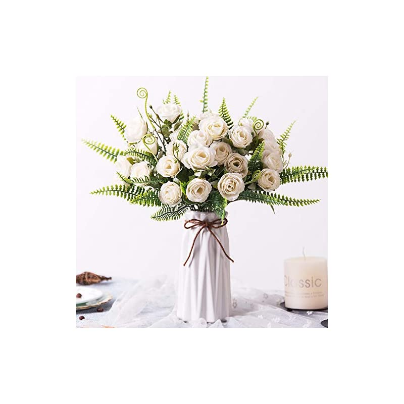 silk flower arrangements artificial flowers arrangement table centerpieces: yiliyajia realistic floral bouquets in vase fake silk roses rustic decoration for home room kitchen