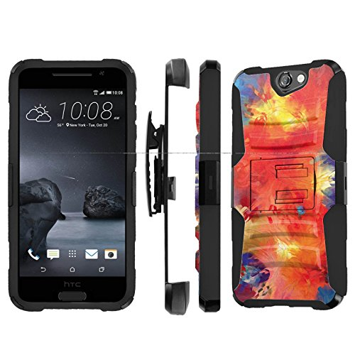 , [NakedShield] [Black/Black] Heavy Duty Holster Armor Tough Case - [Abstract Paint] for Htc One A9 Aero ()