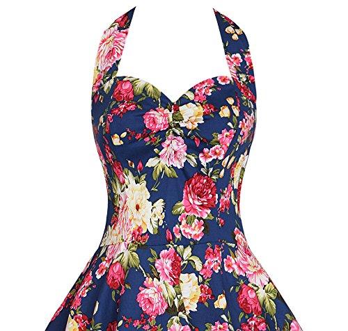IMUYI 1950 Floral Spring Garden Picnic Halter Kleid Partei Kleid ...