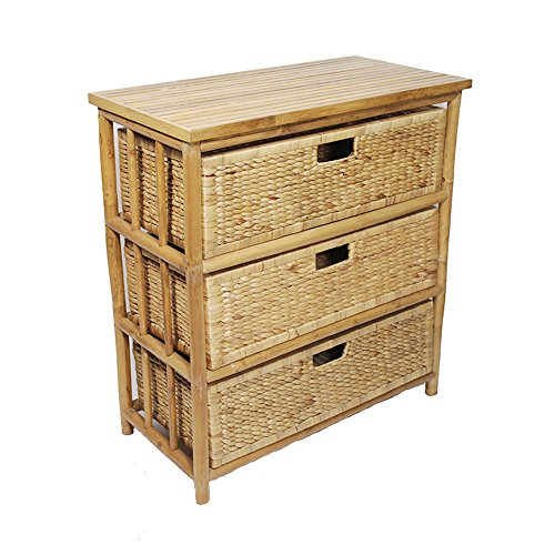 Heather Ann Creations Isla Collection Bohemian Bamboo Open Frame Cabinet With 3 Drawers, 32