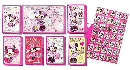 Disney Junior Minnie Mouse 34 Valentines with 35 Glitter Stickers