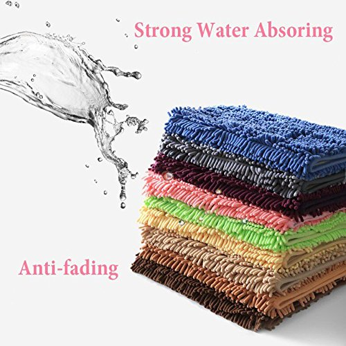 Bath Mat Non-Slip Soft Microfiber Absorbs Water Washable Bath Rug 20x32 inch for Bathroom Bedroom Living Room (Dark Grey)