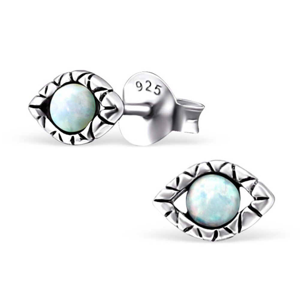Small Evil Eye Synthetic Opal Silver Earrings Antique Style Stering Silver 925 Post Studs (E23675) (Fire Snow)