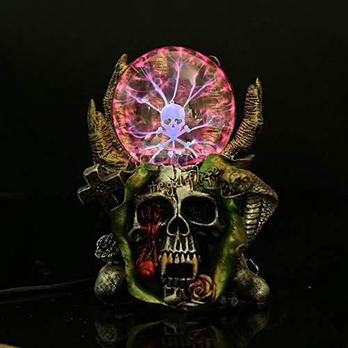 Aibote Magic Skull Head Glass Lightning Plasma Ball Touch Sensitive Night Light Lamp Bedroom Home Parties Decorations Novelty Toy Chrismas Halloween Gift]()