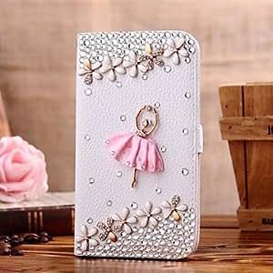 GONGXI- diamante bailarina y pétalo de la PU cuero caso de cuerpo completo con soporte y tarjeta de la ranura para el iphone 4 / 4s