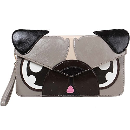 BMC Colorful Faux Leather Animal Face Thin Envelope Style Fashion Clutch Handbag - Gray Pug
