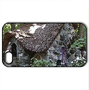 Cottage in Enchanted Forest - Case Cover for iPhone 4 and 4s (Houses Series, Watercolor style, Black)