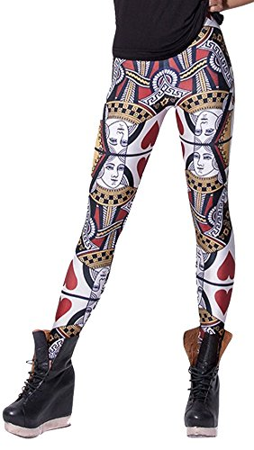 QZUnique Women's Playing Cards Print Shaping Stretch Sexy Tights Leggings,Playing Cards,One Size
