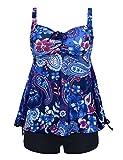Septangle Women's Plus Size Bathing Suits Paisley Print Two Piece Swimsuit (Blue,US 12)