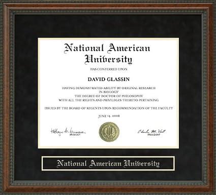 National American University Login >> Amazon Com National American University Nau Diploma Frame Burl