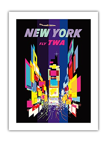 New York - Fly TWA - Times Square - Lockheed Constellation Connie - Vintage Airline Travel Poster by David Klein c.1960s - Premium 290gsm Giclée Art Print 18in x 24in
