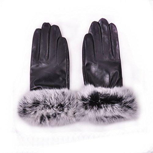 ぬいぐるみ深さきらきらMay & Maya Women 's Luxury Genuine Soft NappaレザーCold Weather Gloves With Rabbit Fur Cuff