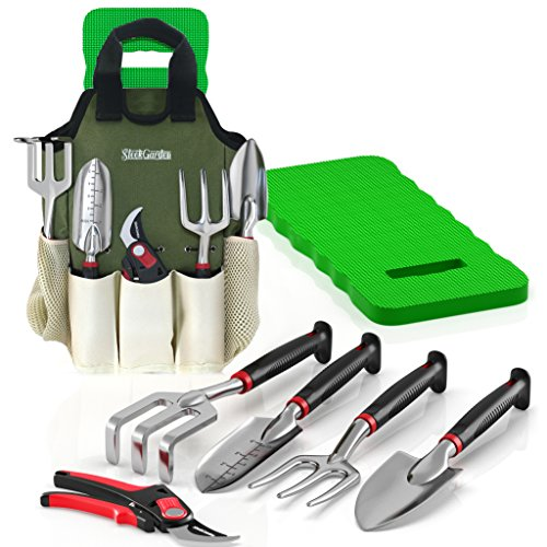 Comfort Plus 7-Piece Gardening Tool Set - Includes EZ-Cut Pruners, Lightweight Aluminum Tools with Soft Rubber Handles and Ergonomic Garden Tote and High Density Comfort Knee Pads by Sleek Garden