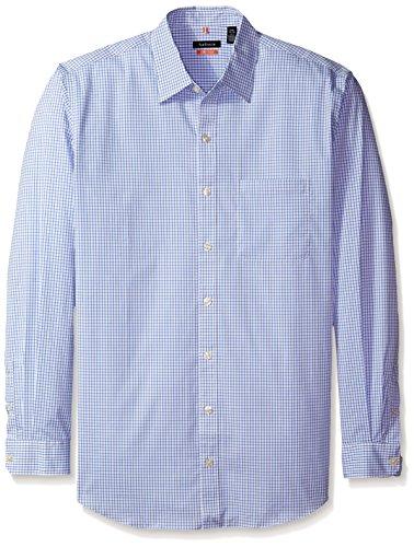 Shirt Sport Sleeve Pique (Van Heusen Men's Big and Tall Traveler Non Iron Stretch Long Sleeve Shirt, Deep Dark Blue Crisp Blue, 4X-Large Tall)