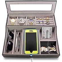 HOUNDSBAY Navigator Big Dresser Valet Tray for Men with Watch Box Jewelry Organizer & Angled Charging Station (Grey)