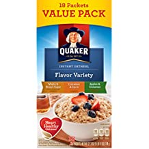Quaker Instant Oatmeal, Variety Value Pack, Breakfast Cereal, 18 Packets