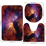 3 Piece Bathroom Mat Set,Space Decorations,Space Stars and Nebula Gas and Dust Cloud Celestial Solar Galacy System Print,Purple Red Orange,Bath Mat,Bathroom Carpet Rug,Non-Slip