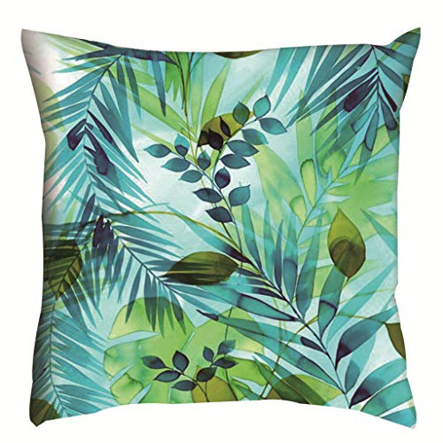 Weiliru Tropical Leaves Throw Pillow Covers Polyster Square Pillow Case 18 X 18 Inch