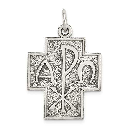 925 Sterling Silver Alpha Omega Cross Religious Pendant Charm Necklace Latin Dove Fine Jewelry Gifts For Women For Her ()