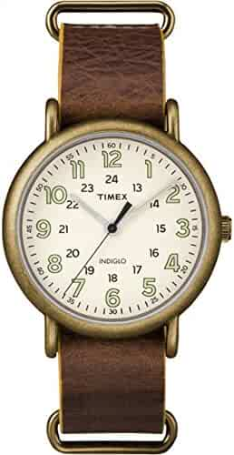 Timex Men's TW2P85700 Weekender 40 Antiqued Brass/Brown Leather Slip-Thru Strap Watch