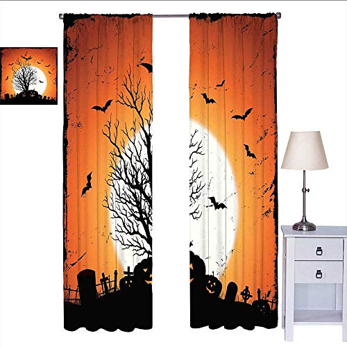 W Machine Sky Vintage Halloween Curtains for bedroo Grunge Halloween Image with Eerie Atmosphere Graveyard Bats Pumpkins soundproof Curtain Orange Black W72 x L96
