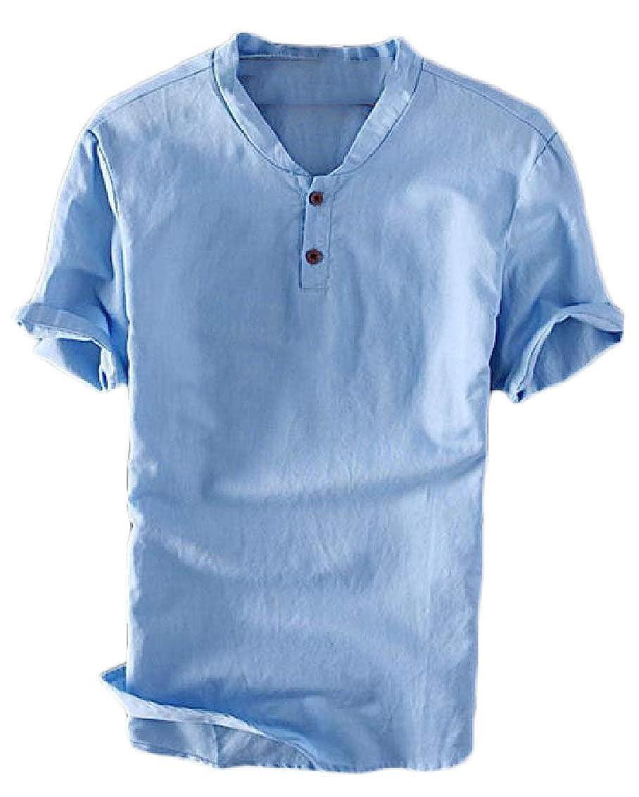 Hajotrawa Mens Tops Tees Short Sleeve Slit Cotton Linen Solid Color T-Shirts