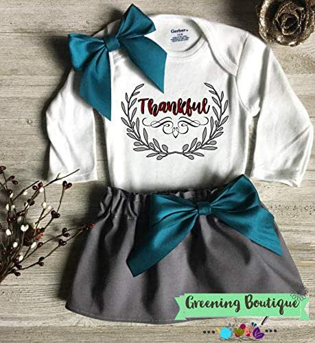 09710a37f8ae Amazon.com: Baby Girl Thanksgiving Outfit, Gray and Teal Thankful ...
