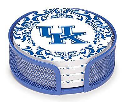 Thirstystone VUKY3-HA27 Stoneware Drink Coaster Set with Holder, University of Kentucky Pattern