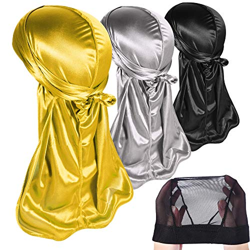 3PCS Silky Durags Pack for Men Waves, Satin Doo Rag, Award 1 Wave Cap,Style D