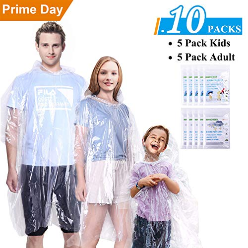 GINMIC Ponchos Family Pack Clear - 10 Pack Rain Ponchos for Kids and Adults, Clear Ponchos with Hood, Disposable Emergency Rain Ponchos for Family Travel, Camping, Hiking, Fishing, Backpacking ()