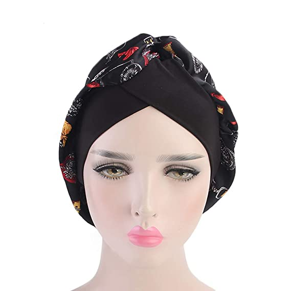 Sonno con stampa floreale Musulmano Copricapo Turbante Cappello da testa confortevole per Make-up Tukistore Wide-Brimmed Seta Cappello di Sonno delle Donne Perdita dei capelli Cancro
