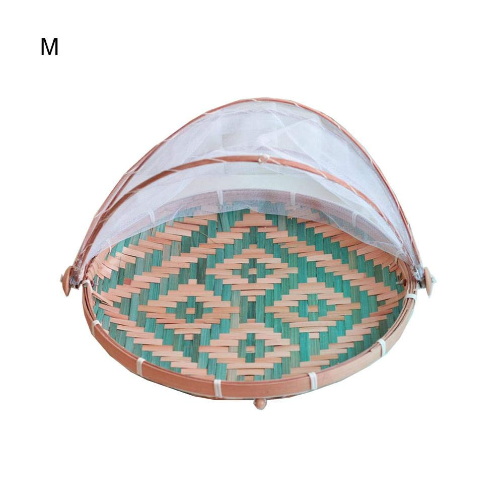 Bamboo Food Serving Tent Basket, Fruit Vegetable Bread Cover Storage Container Outdoor Picnic Food Cover Mesh Tent with Gauze(Bug- proof, Dust-proof) Keep Out Flies, Bugs, Mosquitoes
