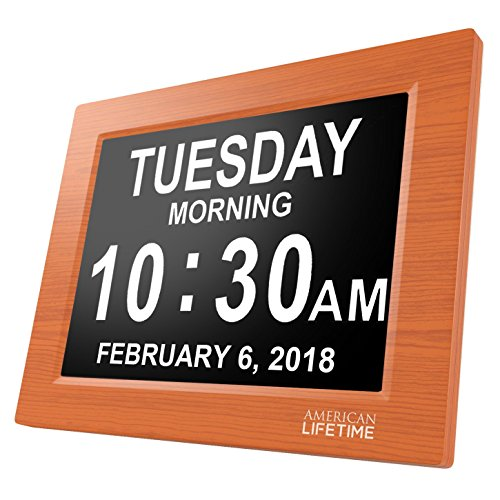 Digital Time Clock ([Newest Version] Day Clock - Extra Large Impaired Vision Digital Clock with Battery Backup & 5 Alarm Options (Brown Wood Color))