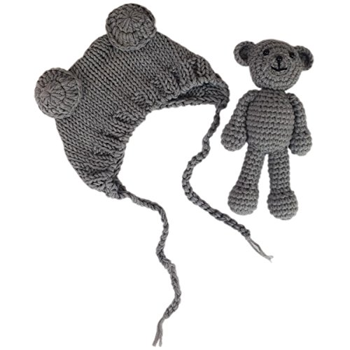 Jastore Infant Newborn Photography Prop Photo Crochet Boys Girls Knit Toy Bear Hats