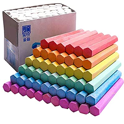 Funic 48Pcs Dustless Colored Chalk, Washable Sidewalk Chalk Classroom, Assorted Bright Colors for Kids, Classroom, Learning, Drawing, Create, Play, Non-Toxic: Toys & Games