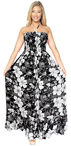 Tropical Resort Wear (La Leela Women Beach Wear Maxi Cover Up One-Piece Dress Tube Skirt Halterneck Large, Black - White, One Size)