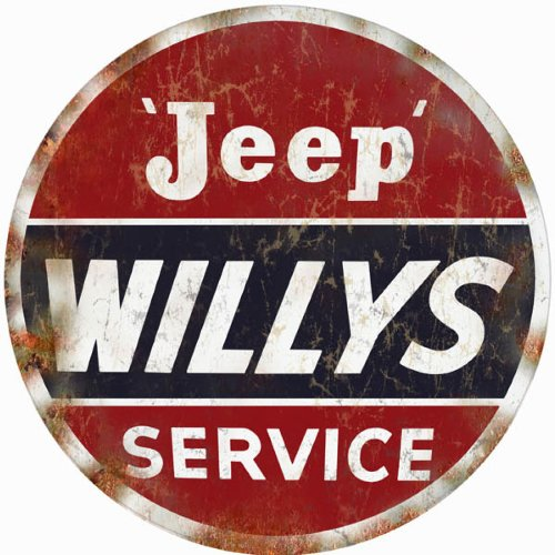Reproduction Jeep willys Service Station Gas and Motor Oil Round Sign -