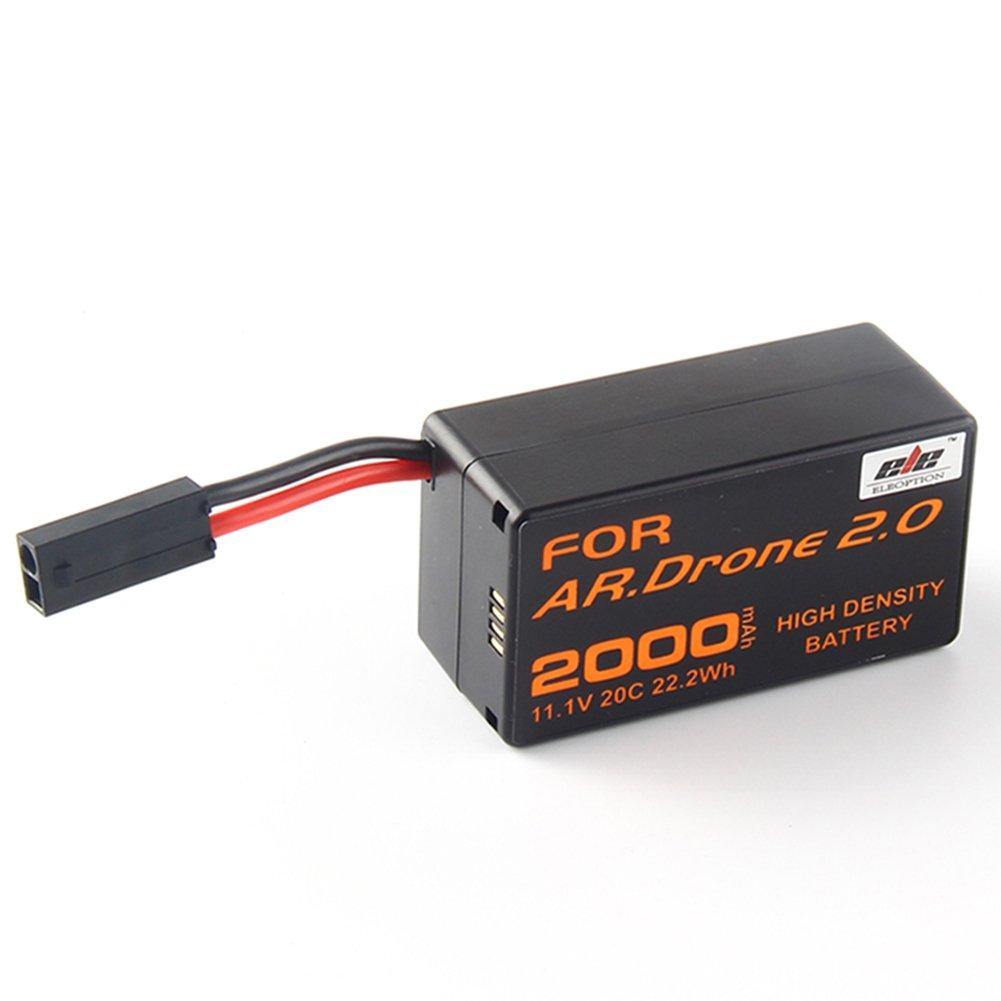 Jian Ya Na Alta Densidad 2000mAh 11.1V poderoso reemplazo Li-pol/ímero de litio para Parrot AR.Drone 2.0 QuadCopter Actualiza potente bater/ía Envase de 1 Negro