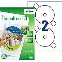 Avery 60 Etiquettes Autocollantes pour CD Maxi couvrantes - Impression Jet d'Encre - Blanc (J8676)