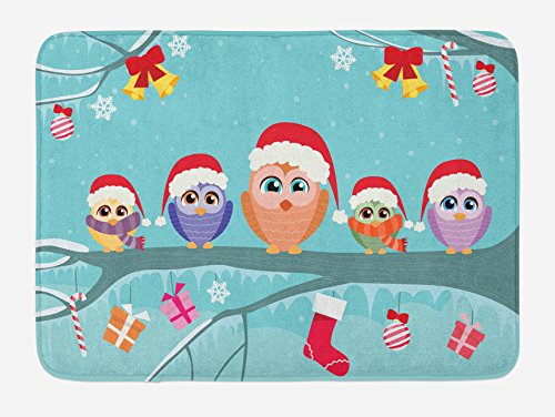 Ambesonne Christmas Bath Mat, Cute Owl Family Sitting on Tree Branch Like Little Elves of Noel Animal Design, Plush Bathroom Decor Mat with Non Slip Backing, 29.5 W X 17.5 L Inches, Multicolor ()