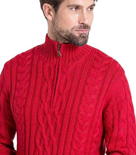 WoolOvers Pullover mit Aran-Zopfmuster und Reiverschluss am Ausschnitt für Herren Red, XL