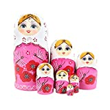 (US) ilovebaby Brand New Pink Matryoshka Nesting Dolls -Popular Fan Shape, Colorful Authentic Russian Wooden for Children Kids Birthday Gifts and Home Decoration (7 PCS)