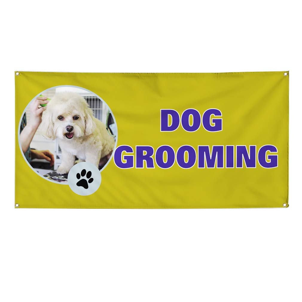 24inx60in 4 Grommets Set of 3 Multiple Sizes Available Vinyl Banner Sign Dog Grooming #1 Style A Business Dog Marketing Advertising Yellow
