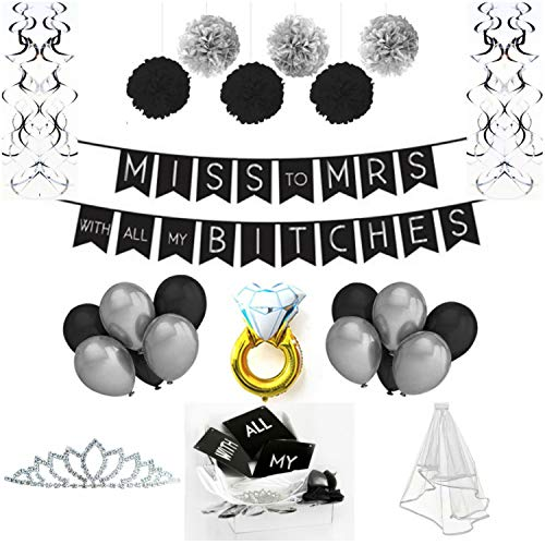 Party Heaven Bachelorette Party Decorations Kit - Black & Silver Bridal Shower Supplies Pack with Rhinestone Tiara + Veil